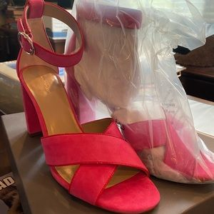 Ann Taylor pink sandal heels size 10 new with box